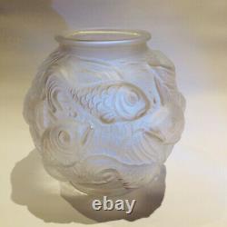Vase boule en verre sablé Style Lalique Années 30/40