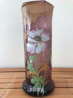 Vase rouleau style Legras en verre émaillé améthyste Art Nouveau 1900