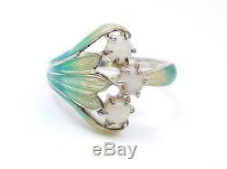 Vintage ancienne bague en argent massif email et opale style Art Nouveau T57